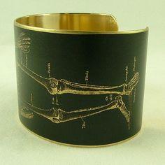 Anatomical Human Skeleton Brass Cuff Bracelet
