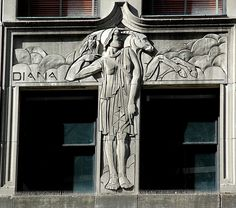 Art Deco bas relief of the Goddess Diana from the facade of the landmark McGraw Hill Building on North Michigan Avenue in Chicago, Illinois.