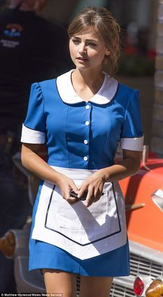 Jenna Coleman slipped into a waitress outfit with white collar and cuffs while filming the latest series of Doctor Who in Cardiff Bay