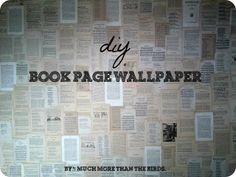 diy book page wallpaper.