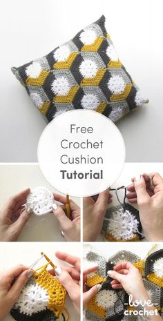 A little bit of simple, color changing and you can have something bold, graphic and modern, using a basic hexie design! Try out this cushion tutorial on the LoveCrochet blog. Crochet Cushions, Crochet Pillow, Crochet Stitches, Crochet Cushion Cover, Crochet Granny, Easy Crochet, Crochet Squares, Crochet Yarn, Crochet Motif