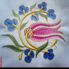 Photo from nakkasteyze Embroidery Patterns Free, Hand Embroidery Designs, Beading Patterns, Embroidery Stitches, Machine Embroidery, Embroidery Dress, Ribbon Embroidery, Turkish Design, Needlework