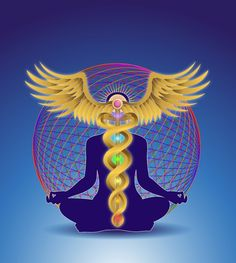 Caduseus symbol.  According to esoteric Buddhism, the wand of the caduceus corresponds to the axis of the world and the serpents refer to the force called Kundalini, which, in Tantrist teaching, sleeps coiled up at the base of the backbone—a symbol of the evolutive power of pure energy.