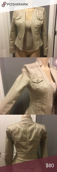 White House Black Market cropped suite jacket tan Excellent condition. Military style. Tan w silver detail. Zip front. Stitching detail. Size 0 White House Black Market Jackets & Coats Blazers