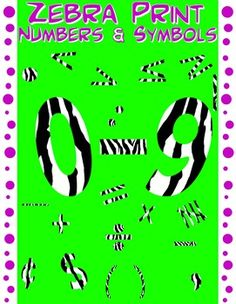 Create wonderful TpT products, bulletins boards, posters and more with this fun set of zebra print numbers 0 - 9, plus math symbols. Each separate clipart image comes in easily resizeable, 300 dpi, transparent png format. THIS IS NOT A FONT. $