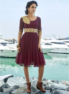73143d56a80 Buy The Ethnic Chic Wine Coloured Embroidered Skater Dress for Women Online  India