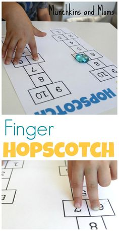 Hopscotch Help preschoolers develop their fine motor skills with this game of finger hopscotch!Help preschoolers develop their fine motor skills with this game of finger hopscotch! Fine Motor Activities For Kids, Motor Skills Activities, Gross Motor Skills, Preschool Activities, Math Skills, Fine Motor Activity, Therapy Activities, Physical Activities, Preschool Lesson Plans