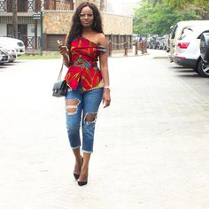 Ladies Ankara Tops For Jeans, ankara top styles with Jean shorts, ankara too with Jean trousers, perfect Ankara tops design for ladies, hot Ankara styles for jeans to match African Fashion Ankara, African Inspired Fashion, Latest African Fashion Dresses, African Print Fashion, Africa Fashion, Ankara Dress Styles, Ankara Tops, African Print Dresses, African Dress