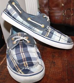 Sperry Top Sider Blue & Gold Plaid Boat Loafer Women Shoe 9 #SperryTopSider #loaferOxford