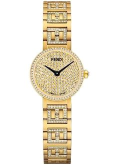 Limited Edition of 50 Pieces - Fendi Forever Yellow Gold Steel Diamond Dial & Bracelet Women's Watch - Model - Brand New, Authentic, Original Packaging Fendi, Brand Name Watches, Unique Watches, Watch Model, Diamond Bracelets, Gold Watch, Brand Names, Bracelet Watch, Quartz