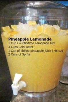 BBQ Party Food Ideas for a Crowd - this Pineapple Lemonade is so easy and SO yum. BBQ Party Food Ideas for a Crowd - this Pineapple Lemonade is so easy and SO Refreshing Drinks, Yummy Drinks, Healthy Drinks, Yummy Food, Tasty, Fruit Drinks, Alcoholic Beverages, Healthy Food, Kid Drinks
