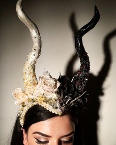 Handmade headdress / headpiece. Instagram: Geoartistry. Glitter, beads, roses, pearls, spikes, maleficent, unicorn, angel, demon, devil, half and half headpiece.
