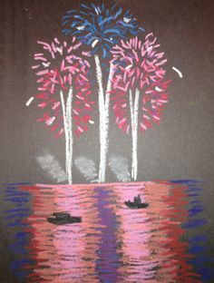 Nighttime fireworks. Oil pastel on black paper. Focused on direction of lines.