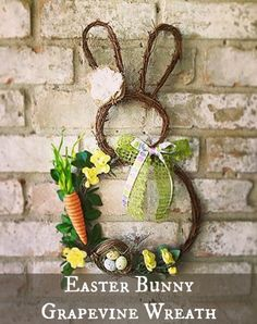 Easter Bunny Grapevine wreath tutorial. Watch the video and learn how to make this cute bunny wreath. #Easter #wreath #DIY