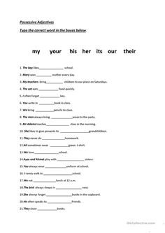 A collection of English ESL Pronouns: Possessive pronouns (e. my, mine) worksheets for home learning, online practice, distance learning and English classe. Adjectives For Kids, Adjectives Activities, Pronoun Worksheets, Adjective Worksheet, Family Worksheet, Kids Worksheets, Reading Worksheets, Prepositions, Printable Worksheets