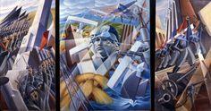 Sintesi Fascista, 1930 Alessandro Bruschetti's transposition of Fascist Italy history in three panels.