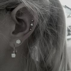 triple cartilage piercing - Google Search