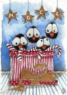 ACEO Original Watercolor Christmas Box Whimsical Birds Crow Star Gift Candy Bow | eBay