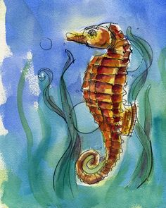 seahorse painting NURTURE LIFE watercolor fine art print by J. Burgess 8 x 10 high quality giclee print