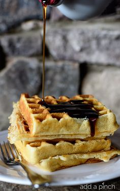 Favorite Buttermilk Waffles Recipe - Our favorite buttermilk waffles are crisp on the outside, yet tender and fluffy on the inside. Waffle perfection!