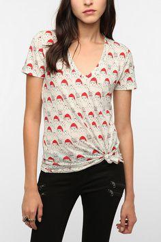 Cat in Santa hat t-shirt
