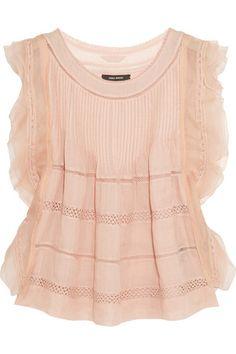 Isabel Marant | Ojima ramie, lace and silk top | NET-A-PORTER.COM