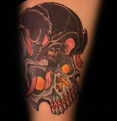 Old School Skull And Rat Arm Tattoo Design On Gentleman