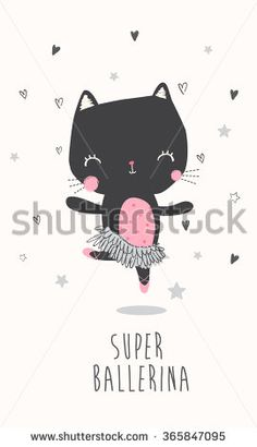 Cute ballerina cat illustration for apparel or other uses,in vector. Ballerina Illustration, Pattern Illustration, Graphic Design Illustration, Gato Doodle, Baby Posters, Cat Party, Cute Doodles, New Theme, Cute Characters