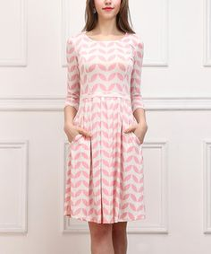 Another great find on #zulily! Pink Geo Leaf Fit & Flare Dress by Reborn Collection #zulilyfinds