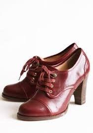 Image result for burgundy brogues heel