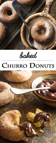 Churros just got a little bit healthier! No deep frying needed. Baked churro donuts are make in a donut pan and rolled in cinnamon sugar. This means you can totally justify the spicy chocolate sauce t (Chocolate Muffins No Sugar) Churro Cake, Churro Donuts, Baked Doughnuts, Churros, Donut Pan Recipe, Donut Recipes, Dessert Recipes, Chocolate Muffins, Chocolate Recipes