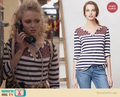 Carrie's striped henley tee on The Carrie Diaries. Outfit Details: http://wornontv.net/24254 #TheCarrieDiaries #fashion #Anthropologie