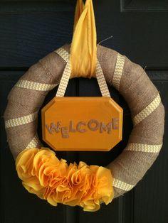 Yellow Chevron Ruffle Burlap Wreath SALE byPolkadotsOriginals