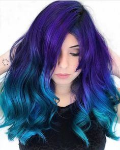 Purple to blue ombre, blue hair colors, turquoise hair ombre, aqua hair, . Turquoise Hair Ombre, Blue Ombre Hair, Ombre Hair Color, Cool Hair Color, Teal And Purple Hair, Violet Hair, Blue Green Hair, Color Streaks, Pastel Hair