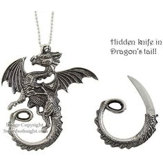 Dragon Necklace with hidden knife ❤ liked on Polyvore featuring jewelry and necklaces