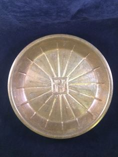 "Vintage Primitive Metal Pie Pan Plate HLJ  9""  Antique Art Deco Slice Guide  