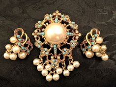 Stunning VTG VENDOME Pearl, Amethyst, Turquoise Seed Pearls Brooch & Earring Set #Vendome