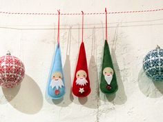 Last minute Santa teardrop ornaments.