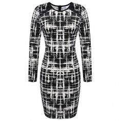 Elegant Women Printed Business Office Work Fitted Stretch Bodycon Dress