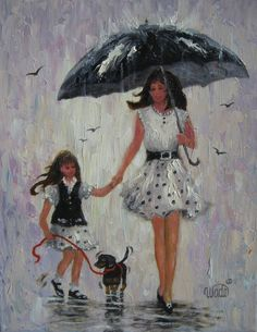 Rain Girls Original Oil Painting, mother and daughter paintings, rain paintings, umbrellas, mom and daughter, Vickie Wade Art