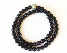 Pearl bracelet double strand with Swarovski by JewelryByLyndsey
