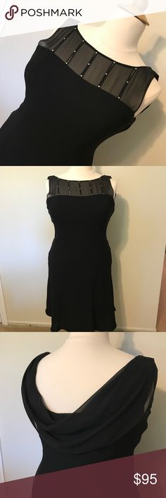 💜 hardly worn black formal midi gown Distresses gently worn. It's made of polyester and is dry clean only. The front has a sheer and rhinestone decor at the neckline with the rest of the dress being plain black. Th back has draping for extra impact. Jones New York Dresses Midi