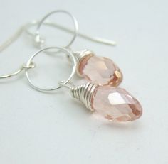 Earrings with Peach Crystal Teardrops Wire Wrapped by jewelrybyroz, $22.00