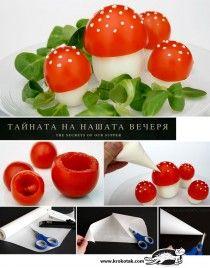 Eieren met tomatenhoedjes -> Paddenstoel!