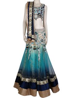 G3fashions Decent blue velvet shaded net readymade lehenga choli Products price: ₹ 25,160.00 Products code: G3-WLC0223