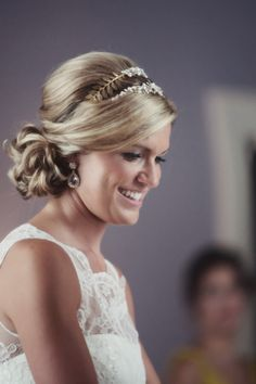 Updo with headband and side chignon. WEdding Planning by redletterevents.com, Photography by ameliaanddan.com