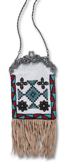 Chilali beaded purse, inspired by traditional medicine pouches, fully beaded with glass beads and lambsuede