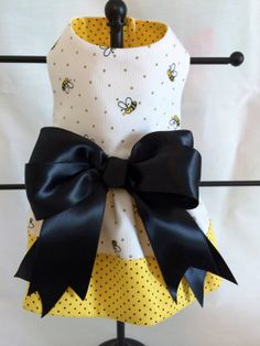 The BEES have it Adorable Ruffled Bumble Bee and Polka Dot Dog Dress Size XXsmall Ready to ship