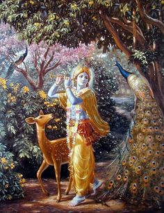 Beautiful painting of Krishna in Vrindavan. In the forground there is a huge peacock and behind Krishna there is a small deer who is completely captivated by Krishna's beauty. Krishna Radha, Hare Krishna, Krishna Leela, Little Krishna, Krishna Love, Lord Krishna Wallpapers, Radha Krishna Wallpaper, Lord Krishna Images, Radha Krishna Pictures