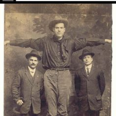 """My Uncle Jim """"World's Tallest Man"""" Tarver in 1929 from Franklin, Texas."""